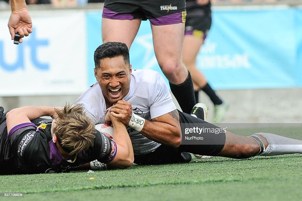 Quentin Laulu-Togaga'e, shown here in an earlier game, scored two tries in a five-minute span in the second half as the Toronto Wolfpack downed the Newcastle Thunder 50-0 on Toronto, Canada on August 19, 2017.