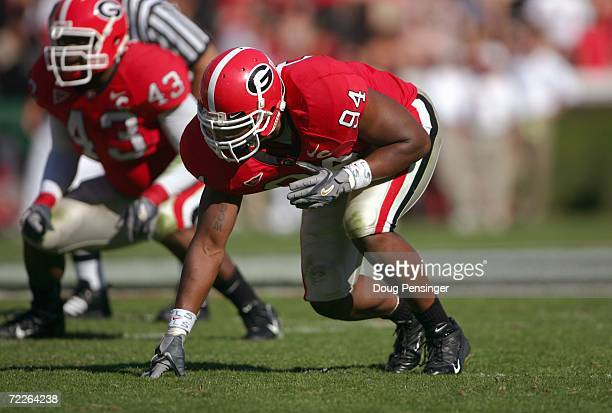 Quentin Moses of the Georgia Bulldogs gets ready at the line of scrimmage during the game against the Mississippi State Bulldogs on October 21 2006...