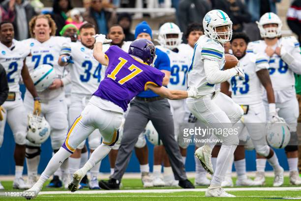 Quentin Randolph of West Florida makes a reception during the Division II Men's Football Championship held at McKinney ISD Stadium on December 21...