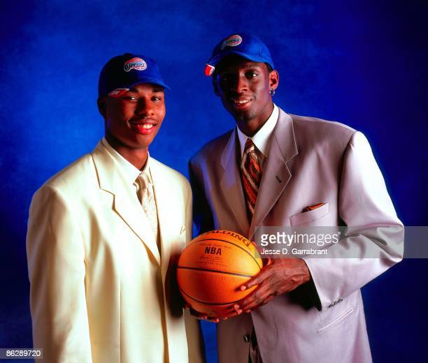 Quentin Richardson and Darius Miles of the Los Angeles Clippers pose for a portrait during the 2000 NBA Draft on June 28, 2000 at the Target Center...