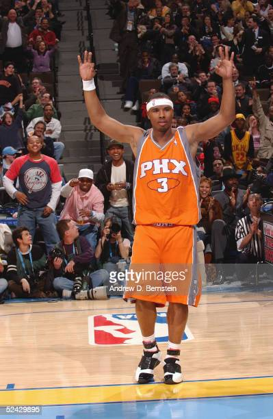 Quentin Richardson of the Phoenix Suns celebrates after winning the Foot Locker ThreePoint Shootout during 2005 NBA AllStar Weekend at the Pepsi...