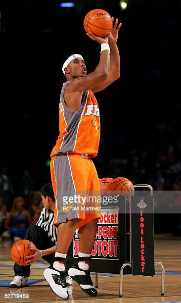 Quentin Richardson of the Phoenix Suns puts up a shot in the Foot Locker ThreePoint Shootout part of 2005 NBA AllStar Weekend at Pepsi Center on...