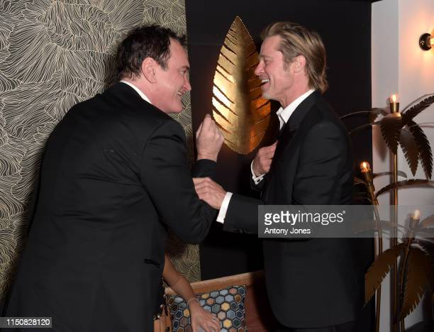 Quentin Tarantino and Brad Pitt attend the Once Upon A Time In Hollywood After Party at JW Marriott on May 21 2019 in Cannes France