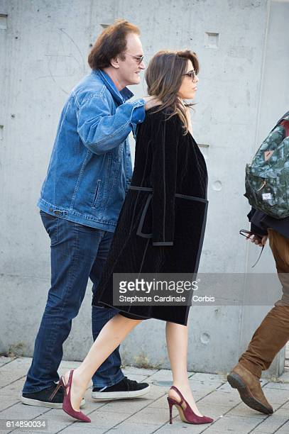 Quentin Tarantino and Daniela Pick attend the shooting of French short blackandwhite silent documentary film 'La Sortie de l'Usine' directed by Park...