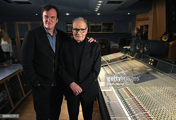 Quentin Tarantino and Ennio Morricone pictured inside the control room at Abbey Road Studios ahead of the Live to Lathe Limited Edition Recording of...