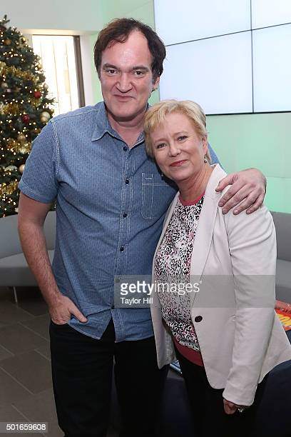 Quentin Tarantino and Eve Plumb visit the SiriusXM Studios on December 16 2015 in New York City