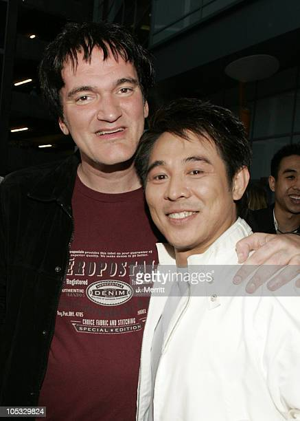 Quentin Tarantino and Jet Li during 'Hero' Los Angeles Premiere Red Carpet at Arclight Cinemas in Hollywood California United States