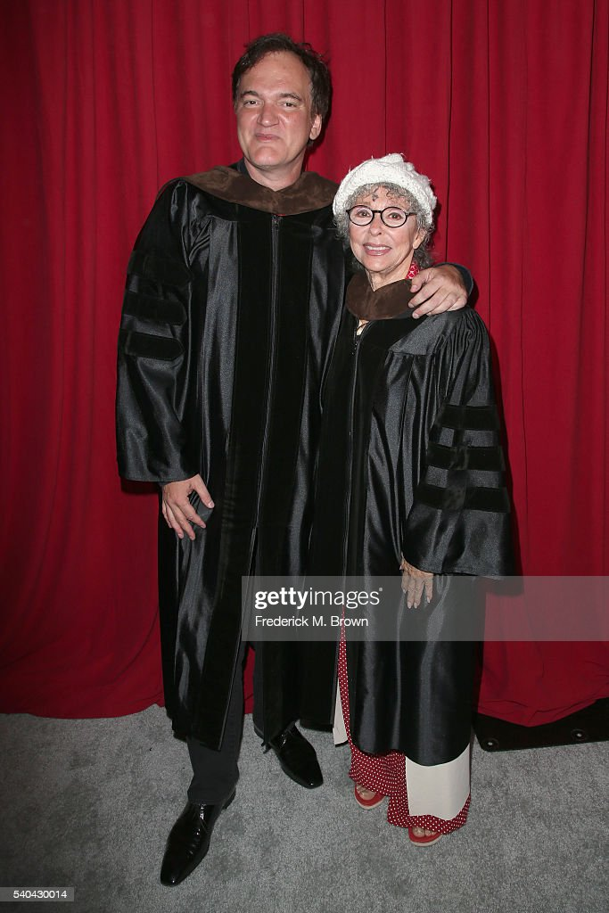 Quentin Tarantino (L) and Rita Moreno attend the 2016 AFI Conservatory commencement ceremony at TCL Chinese Theatre on June 15, 2016 in Hollywood, California. The American Film Institute is granting honorary degrees to Rita Moreno and Quentin Tarantino for their contributions to the cinematic arts.