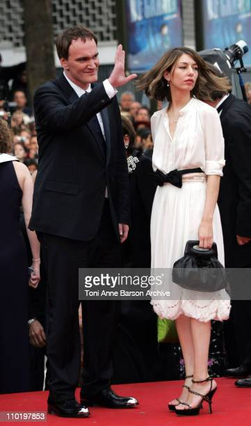 Quentin Tarantino and Sofia Coppola during 2004 Cannes Film Festival 'The Bad Education' Opening Night at Palais Du Festival in Cannes France