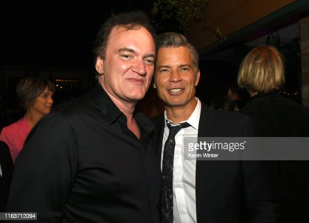 "Quentin Tarantino and Timothy Olyphant pose at the after party for the premiere of Sony Pictures' ""Once Upon A Time...In Hollywood"" at the Hollywood..."