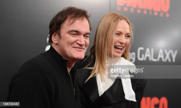Quentin Tarantino and Uma Thurman attend a screening of 'Django Unchained' hosted by The Weinstein Company with The Hollywood Reporter Samsung Galaxy...
