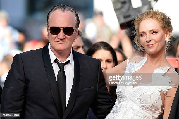 Quentin Tarantino and Uma Thurman attend the Closing Ceremony and A Fistful of Dollars screening during the 67th Annual Cannes Film Festival on May...