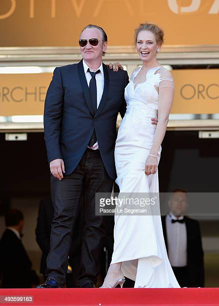 Quentin Tarantino and Uma Thurman attend the Closing Ceremony and 'A Fistful of Dollars' screening during the 67th Annual Cannes Film Festival on May...