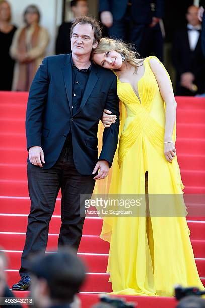 Quentin Tarantino and Uma Thurman attend the 'Clouds Of Sils Maria' premiere during the 67th Annual Cannes Film Festival on May 23 2014 in Cannes...