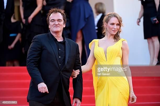 Quentin Tarantino and Uma Thurman attend the Clouds Of Sils Maria premiere during the 67th Annual Cannes Film Festival on May 23 2014 in Cannes France