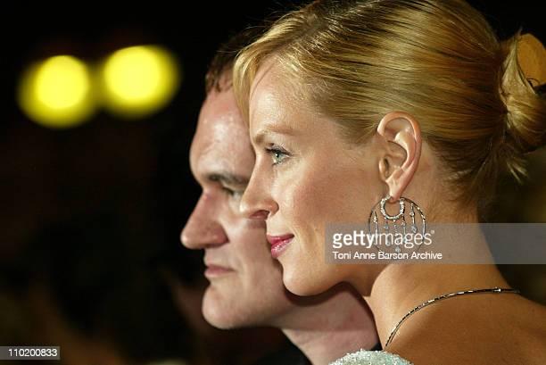 Quentin Tarantino and Uma Thurman during 2004 Cannes Film Festival 'Kill Bill Vol 2' Premiere at Palais Du Festival in Cannes France