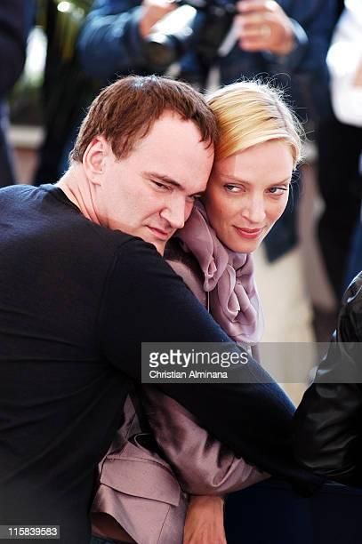 Quentin Tarantino and Uma Thurman during 2004 Cannes Film Festival 'Kill Bill Vol 2' Photocall at Palais Du Festival in Cannes France