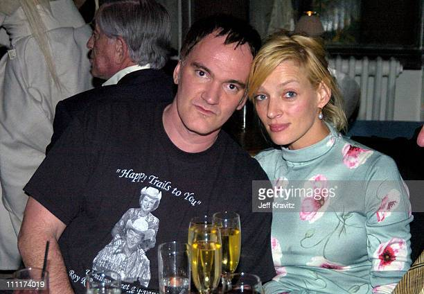 Quentin Tarantino and Uma Thurman during HBO Films Pre Golden Globes Party Inside Coverage at Chateau Marmont in Los Angeles California United States