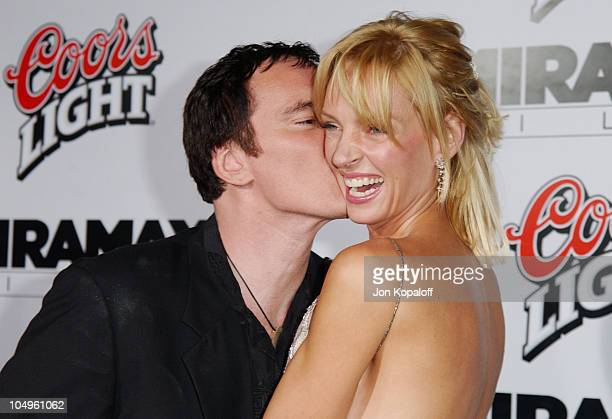Quentin Tarantino and Uma Thurman during 'Kill Bill Vol1' Hollywood Premiere at Grauman's Chinese Theater in Hollywood California United States