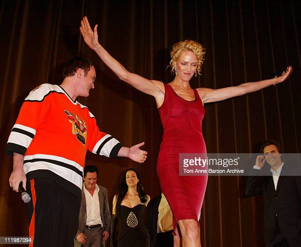 Quentin Tarantino and Uma Thurman during 'Kill Bill Volume 1' Premiere in Paris at Grand Rex Theater in Paris France