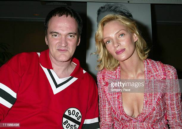Quentin Tarantino and Uma Thurman wearing Chanel during The 63rd Annual Motion Picture Club Awards and Installation Luncheon at Marriot Marquis in...