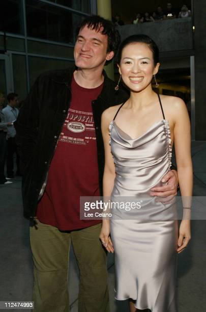 Quentin Tarantino and Zhang Ziyi during 'Hero' Los Angeles Premiere Red Carpet at ArcLight Cinemas in Hollywood California United States
