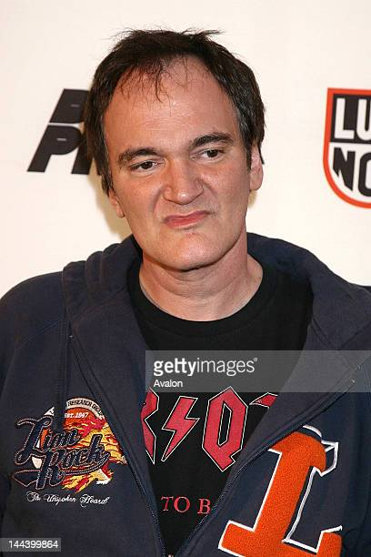 Quentin Tarantino Arrivals at the Death Proof celebrity banger race Tamer Hassan surrounded by Hustler Girls 17th September 2007 Job 32380 Ref PAT...