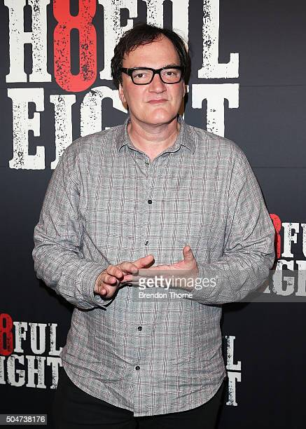 Quentin Tarantino arrives ahead of the Australian premiere of The Hateful Eight at Event Cinemas George Street on January 13 2016 in Sydney Australia