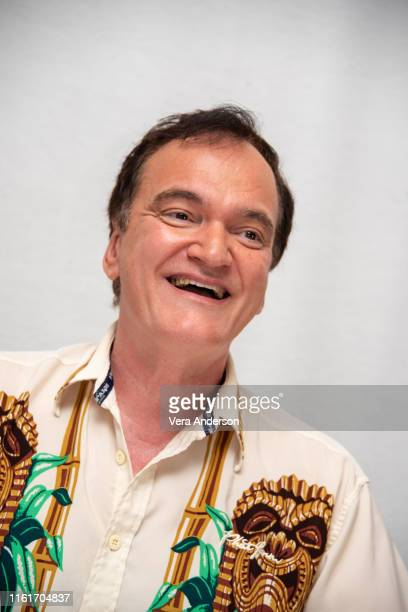 "Quentin Tarantino at the ""Once Upon A Time In Hollywood"" Press Conference at the Four Seasons Hotel on July 12, 2019 in Beverly Hills, California."