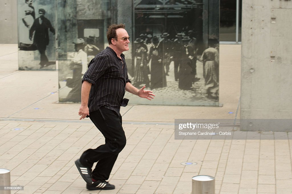 Quentin Tarantino attends the Remake of the 1st Movie of the Lumiere Brothers, during the 5th Lumiere Film Festival, in Lyon.