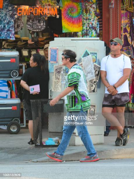 Quentin Tarantino is seen on the movie set of the 'Once Upon a Time in Hollywood' on July 24 2018 in Los Angeles California
