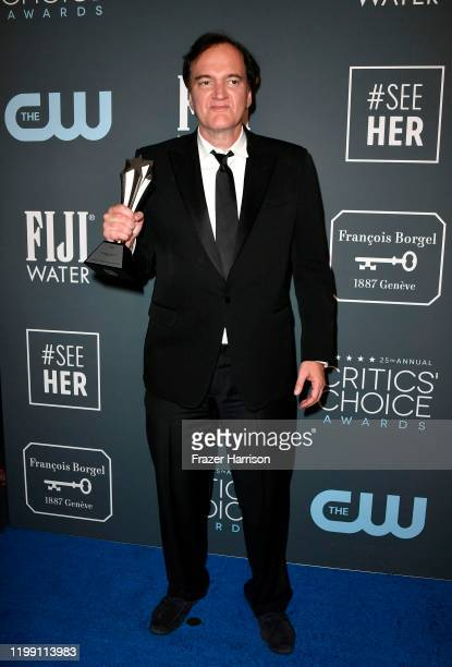 Quentin Tarantino poses in the press room with the award for Best Original Screenplay for Once Upon a Time in Hollywood during the 25th Annual...