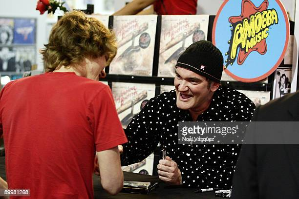 Quentin Tarantino signs copies of the Inglourious Basterds soundtrack at Amoeba on August 20 2009 in Los Angeles California