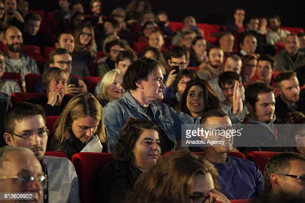 Quentin Tarantino stays after his presentation in Pathe Bellecour movie theater to see the movie Hollywood Vixens in Lumiere Film Festival Lyon on...