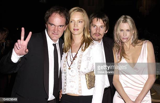 Quentin Tarantino Uma Thurman Ethan Hawke Daryl Hannah pose for photographers at 'The Screen Actors Guild PostAwards Gala' sponsored by the...