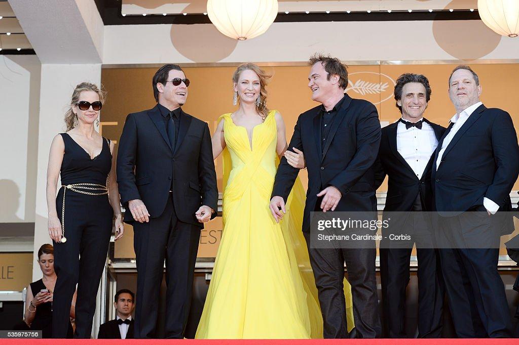Quentin Tarantino, Uma Thurman, John Travolta, Kelly Preston and guest at the 'Clouds Of Sils Maria' Premiere at the 67th Annual Cannes Film Festival