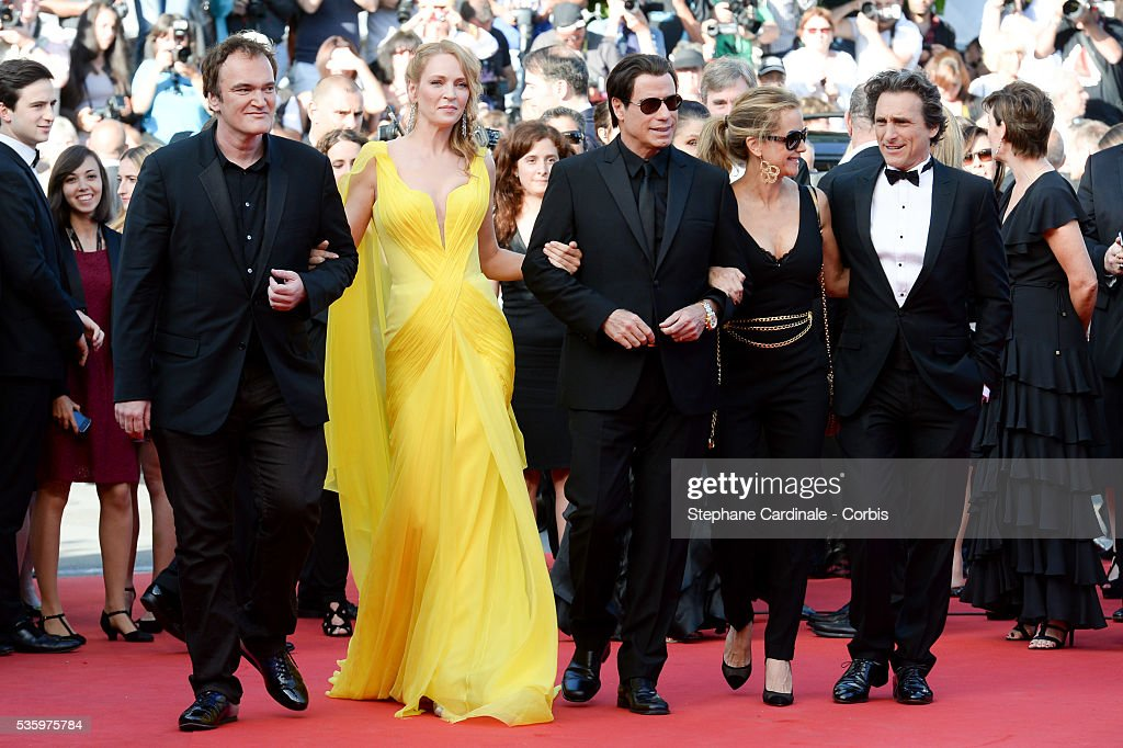 Quentin Tarantino, Uma Thurman, John Travolta, Kelly Preston and guest at the 'Clouds Of Sils Maria' Premiere at the 67th Annual Cannes Film Festival