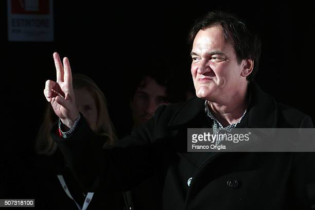 Quentin Tarantino walks the red carpet for 'The Hateful Eight' premiere at on January 28 2016 in Rome Italy