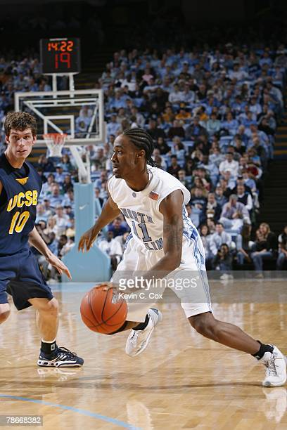 Quentin Thomas of the North Carolina Tar Heels drives to the net against the UC Santa Barbara Gauchos during the game at the Dean E Smith Center on...