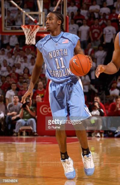 Quentin Thomas of the North Carolina Tar Heels handles the ball against the Maryland Terrapins against February 25 2007 at Comcast Center in College...