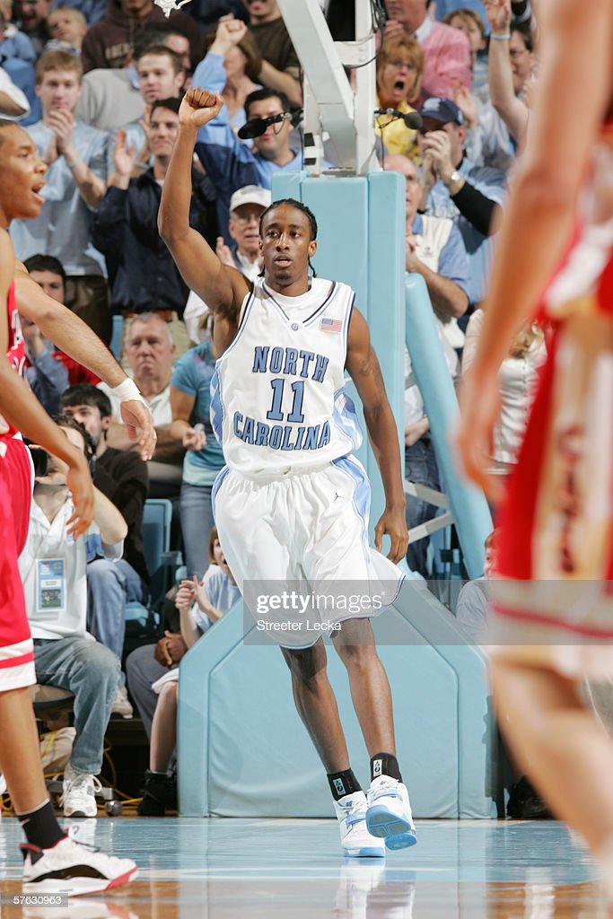 Quentin Thomas #11 of the University of North Carolina Tar Heels celebrates a play against the Arizona Wildcats on January 28, 2006 at the Dean Smith Center in Chapel Hill, North Carolina. The Tar Heels won 86-69.