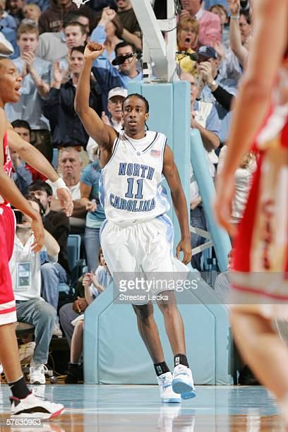 Quentin Thomas of the University of North Carolina Tar Heels celebrates a play against the Arizona Wildcats on January 28 2006 at the Dean Smith...
