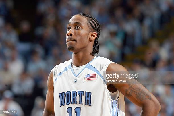 Quentin Thomas of the University of North Carolina Tar Heels looks down the court during the game against the Virginia Cavaliers on January 10 2007...