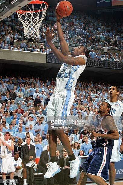 Quentin Thomas of the University of North Carolina Tar Heels makes a layup during the game against the Virginia Cavaliers on January 10 2007 at the...