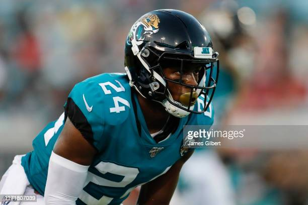 Quenton Meeks of the Jacksonville Jaguars looks on during a preseason game against the Atlanta Falcons at TIAA Bank Field on August 29 2019 in...