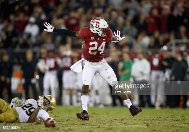 Quenton Meeks of the Stanford Cardinal reacts after Kevin Stepherson of the Notre Dame Fighting Irish dropped a pass at Stanford Stadium on November...
