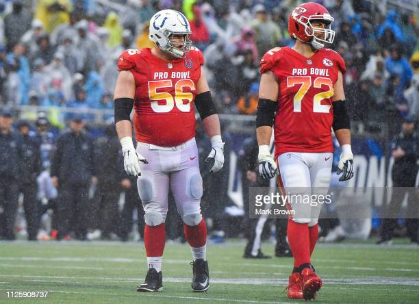 Quenton Nelson of the Indianapolis Colts and Eric Fisher of the Kansas City Chiefs in action during the 2019 NFL Pro Bowl at Camping World Stadium on...