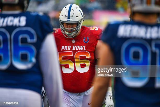 Quenton Nelson of the Indianapolis Colts in action during the 2019 NFL Pro Bowl at Camping World Stadium on January 27 2019 in Orlando Florida