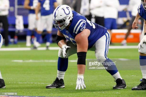 Quenton Nelson of the Indianapolis Colts in action in the game against the Miami Dolphins at Lucas Oil Stadium on November 10 2019 in Indianapolis...