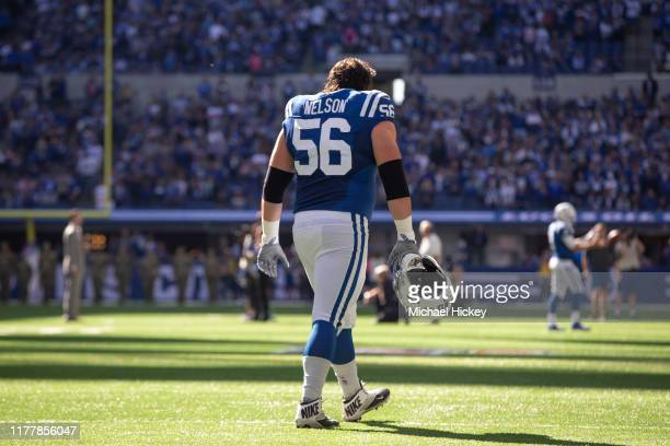 Quenton Nelson of the Indianapolis Colts is seen before the game against the Houston Texans at Lucas Oil Stadium on October 20 2019 in Indianapolis...